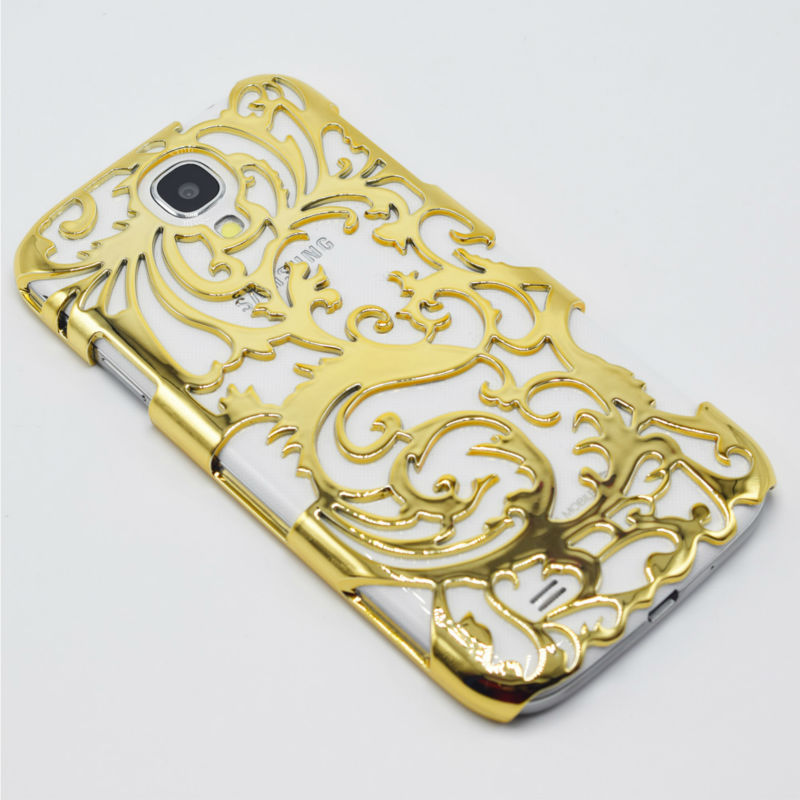 S4 Case Gold Plating Protective Back Cover Artistic Carving Plastic Hollow-Out Phone Case For Samsung Galaxy S IV S4 i9500