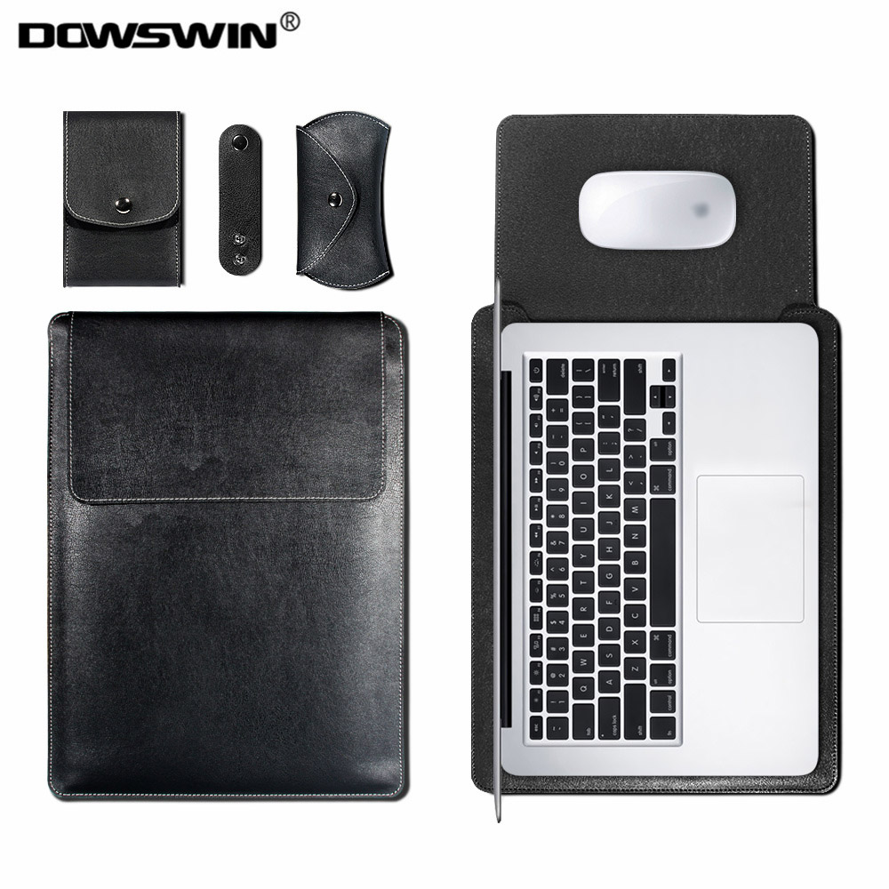 DOWSWIN Sleeve Bag Case for Macbook Air 13 11 Retina 12 13 15 Inch Pro 13 15 Laptop PU Leather Cover Bag for Macbook Wateproof new notebook case bag for macbook air 13 pro 15 case retina 13 3 15 4 cover women men laptop bag 13 15 inch with power bag