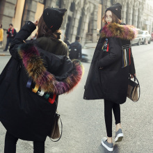 Korean 2016 women's jackets parka with colored real fur hood collar female long puffer coat canada fashion goode down black xxl(China)