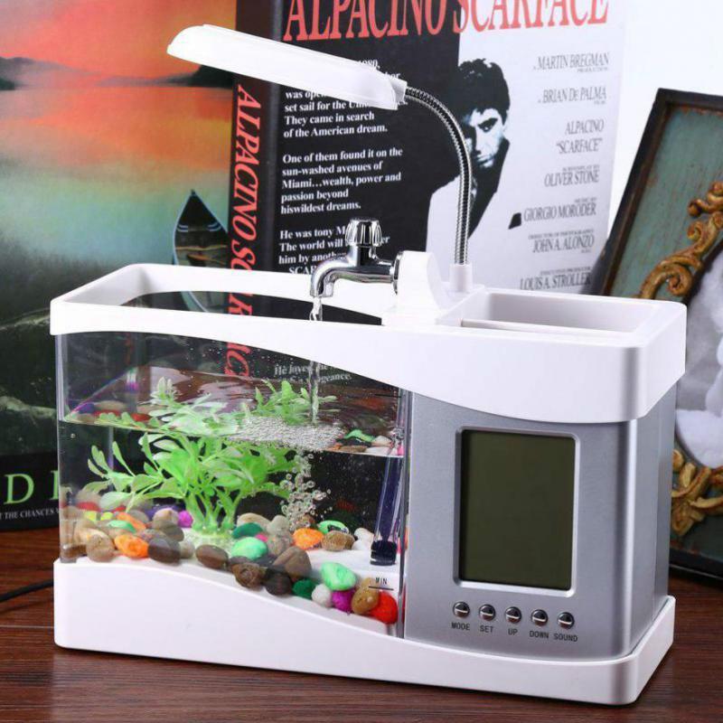 USB Mini Aquarium Aquarium Aquarium bureau électronique réservoir de poissons décoration avec de l'eau en cours d'exécution LED pompe lumière calendrier horloge blanc et noir