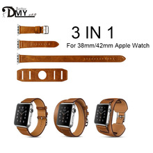 High Quality Extra Long Genuine Leather Strap For Apple Watch Band Double Tour Bracelet Leather Watchband