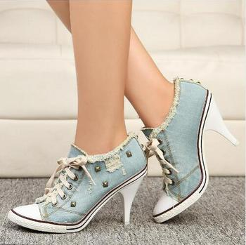 Brand C boots Women sexy Thin High Heel Lace-Up Rivets Jeans Denim Shoes Fashion Casual Canvas Shoes female Pumps