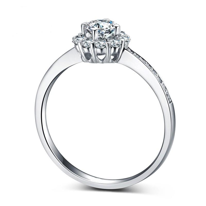 Dames zircone cubique Brillant Round Cut Anneau S925 Sterling Argent Bijoux Cadeau idée pour Amant Proposition Promise bague halo