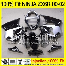 8Gifts Injection mold Body For KAWASAKI NINJA ZX-6R 00-02 1HM42 ZX 6R ZX6R 00 01 02 ZX636  2000 2001 2002 Fairing silver black