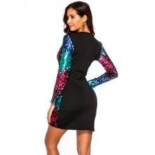 feitong Women's  sexy dress Sequins Long Sleeve Deep V-Neck Mini Dresses Party Dress Night club slim Dresses #w1230