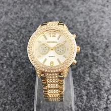 HOT Sell Casual Pulseira Mulheres Relógio De Quartzo Presentes Para A Menina liga Inoxidável Completa Strass relógio de pulso Relogio feminino