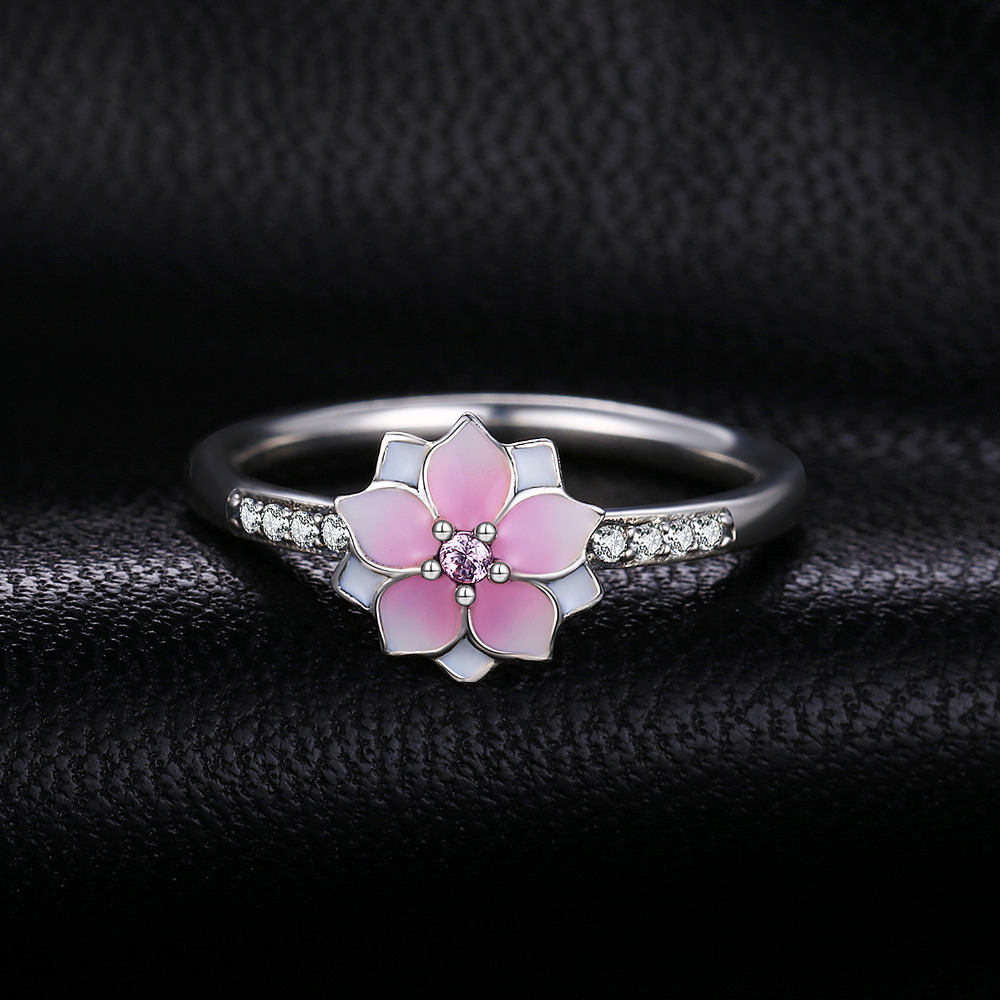 Jewelrypalace 925 Sterling Silver Rings Flower Magnolia Cubic Zirconia Gradient Pink Enamel Cocktail Ring Fine Jewelry Gifts in Rings from Jewelry Accessories
