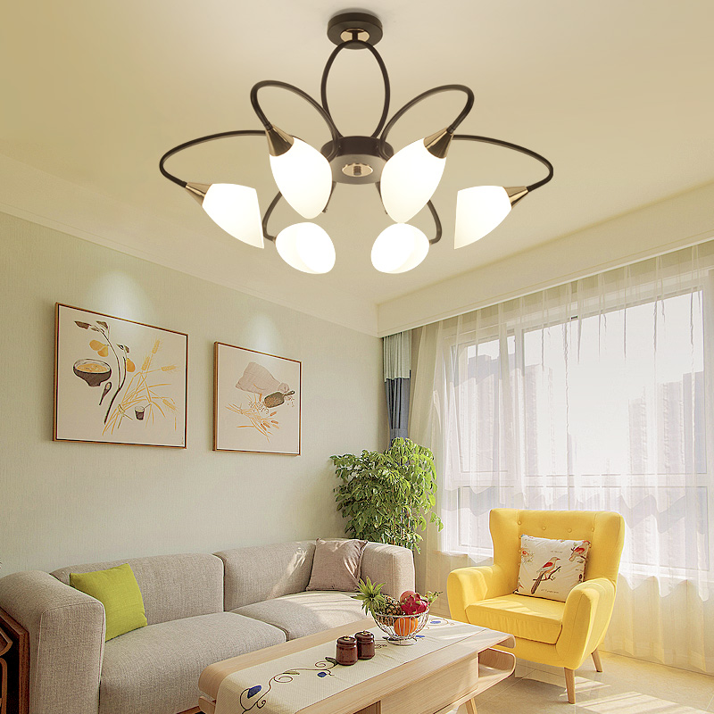 Nordic 6/ 8 Light Glass Globes Lampshades Led E27 Chandelier for Living Room|Chandeliers| |  - title=