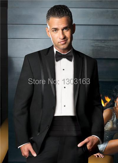 black Custom made prom two Buttons single breasted notch/peak lapel with trim formal Tuxedo man bridegroom Wedding/business Suit