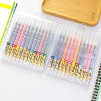12 24 PCS Set 0 38mm Colorful Gel Pens Translucent Fiber Color Watercolor Painting Graffiti Pen