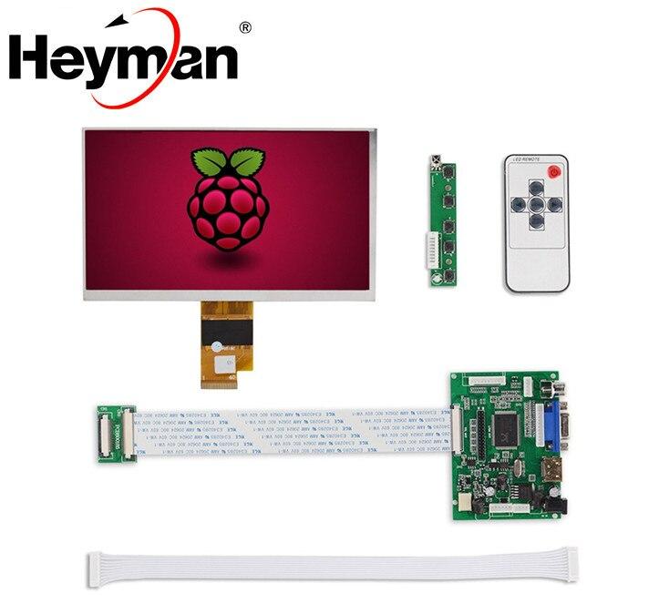 Pantalla LCD de 7 pulgadas de Heyman, Monitor de alta resolución, placa de Control de controlador remoto 2AV HDMI VGA