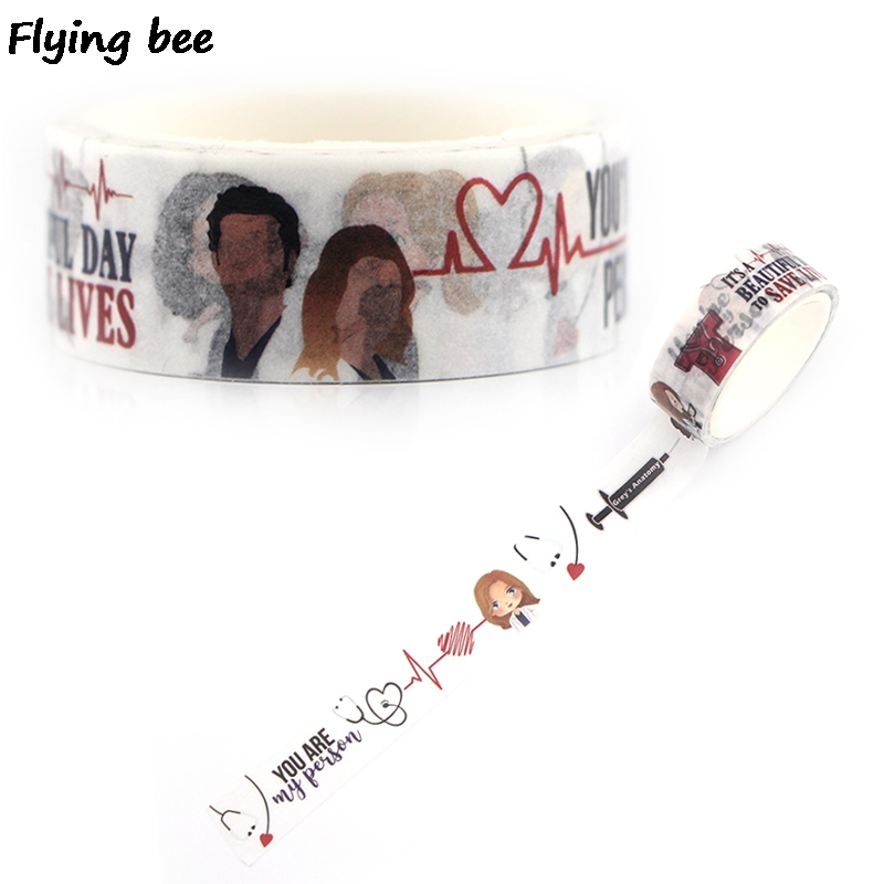 Flyingbee 15mmX5m Paper Washi Tape Grey Doctor Fashion Adhesive Tape DIY Scrapbooking Sticker Label Masking Tape X0347