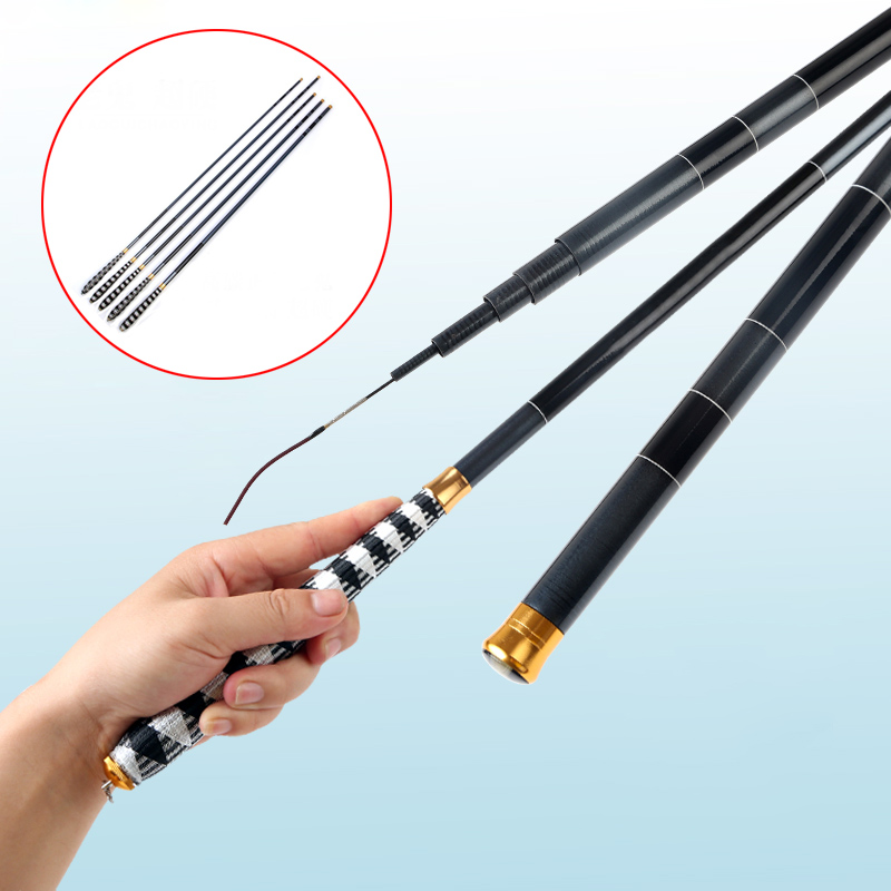 Telescopic Carbon Fiber Super Hard Ultra Light Carp Fishing Pole Stream Fishing Rod Hooks ASD88