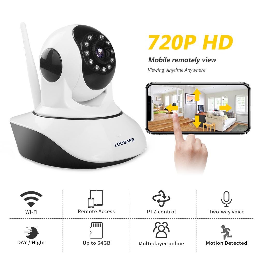 LOOSAFE Home Security IP Camera 720P HD Wireless Mini Wifi IP Camera Video Surveillance Camera WIFI Baby Monitor Two Way Audio hot 720p hd clever dog network wireless mini ip camera security video surveillance wifi baby monitor two way audio support card