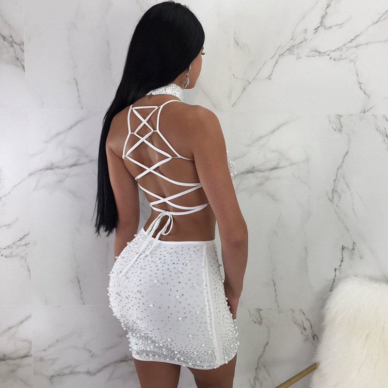 Beyprern Sexy Spaghetti Strap Rhinestone Pearl Choker Set Two Pieces  Sparkly Pearl Details Back Straps Mini Dress Night Out Wear-in Dresses from  Women s ... fd7e9e400471