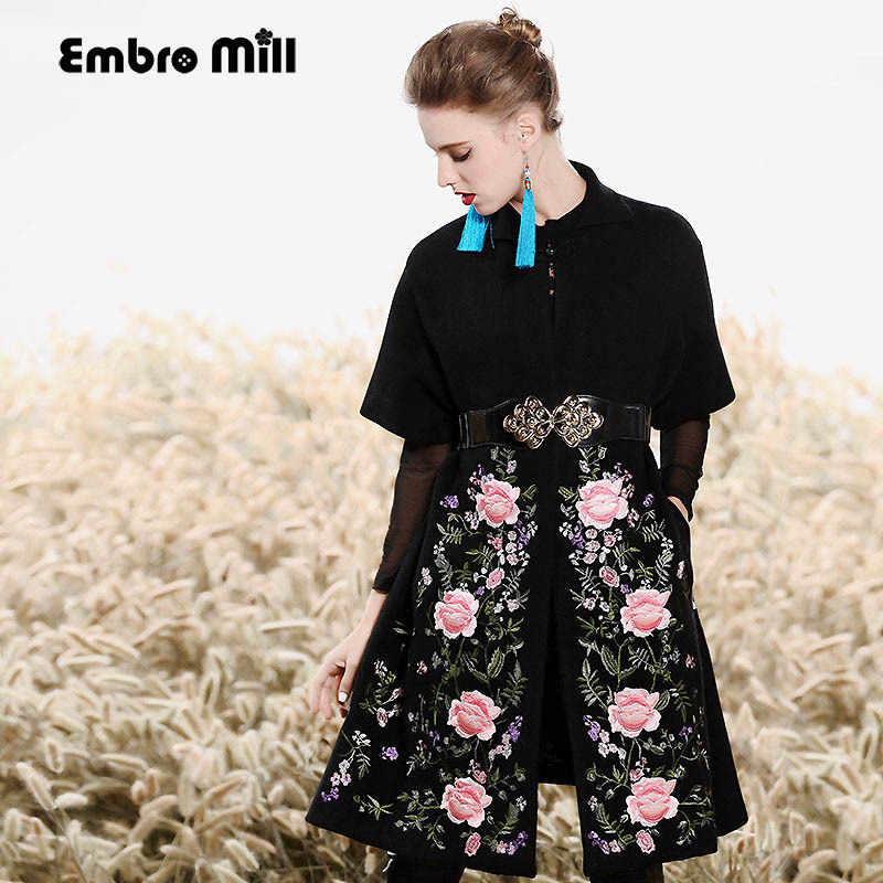 High-end autumn winter trench coats for women vintage wool embroidery floral open stitch Angora loose outerwear female M-XL