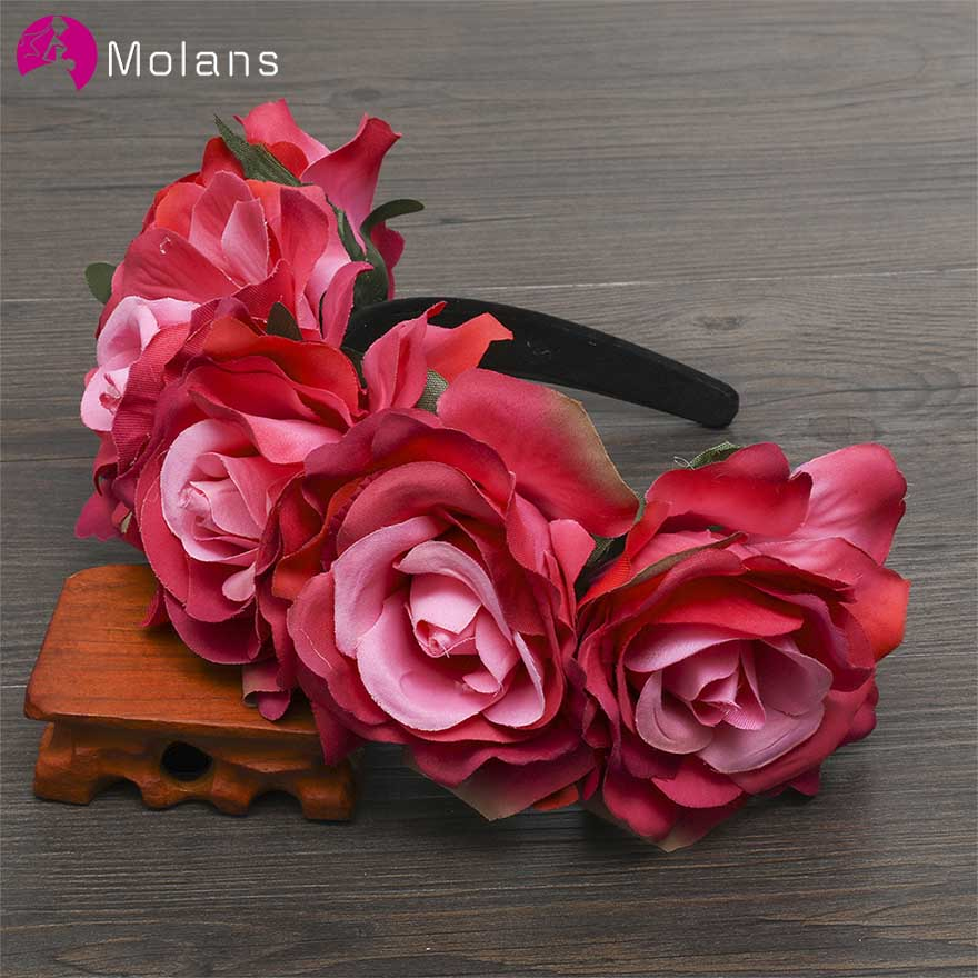 MOLANS Big Rose Floral Bride Wreath Hoop Simple Solid Four Stimulation Flowers Leaves Female Hair Accessories For Wedding
