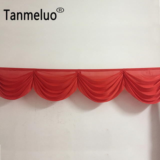 20ft Length Red Curtains Wedding Backdrop Swags Decoration Detachable Table Skirting For