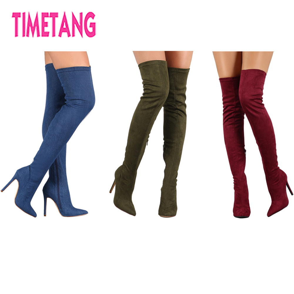 TIMETANG 2018 NEW Suede Elastic High Heel Thigh High Boots Women's Pointed Toe Sexy Over The Knee Winter Long Boots 35-43 black stretch fabric suede over the knee open toe knit boots cut out heel thigh high boots in beige knit elastic sock long boots