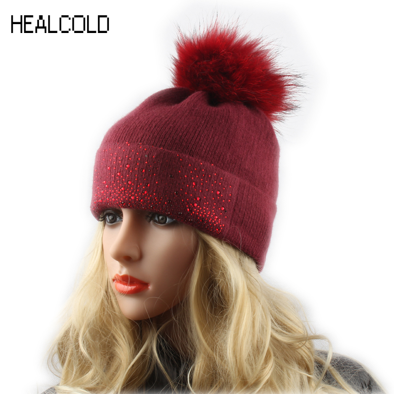 Women Winter Wool Beanies Real Fur Pompom Hats Ladies Knitted Warm Hat Cap Outdoor Skullies autumn winter beanie fur hat knitted wool cap with raccoon fur pompom skullies caps ladies knit winter hats for women beanies
