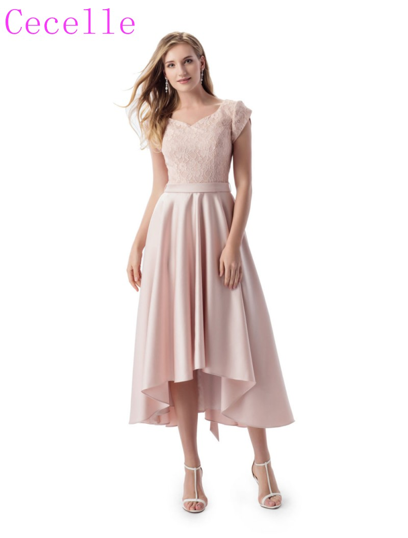2018 Nude High Low Short Modest Bridesmaid Dresses With Cap Sleeves ...