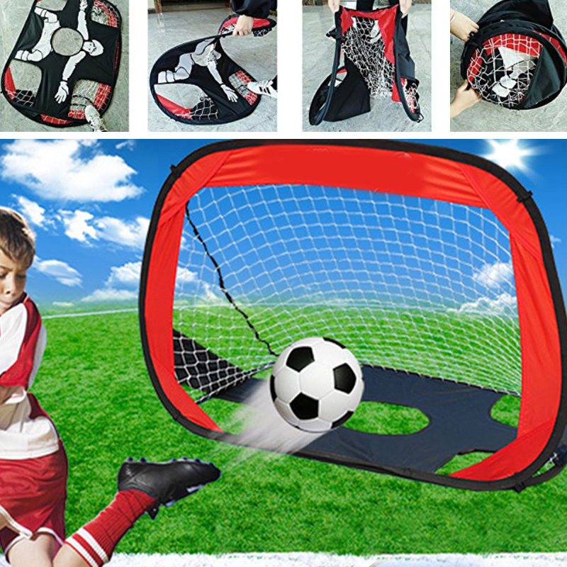 Relefree Foldable Soccer Goal Net 2-in-1 Pop Up Kids Football Ball Goal Net Soccer Training Target Indoor Outdoor Sports Gate