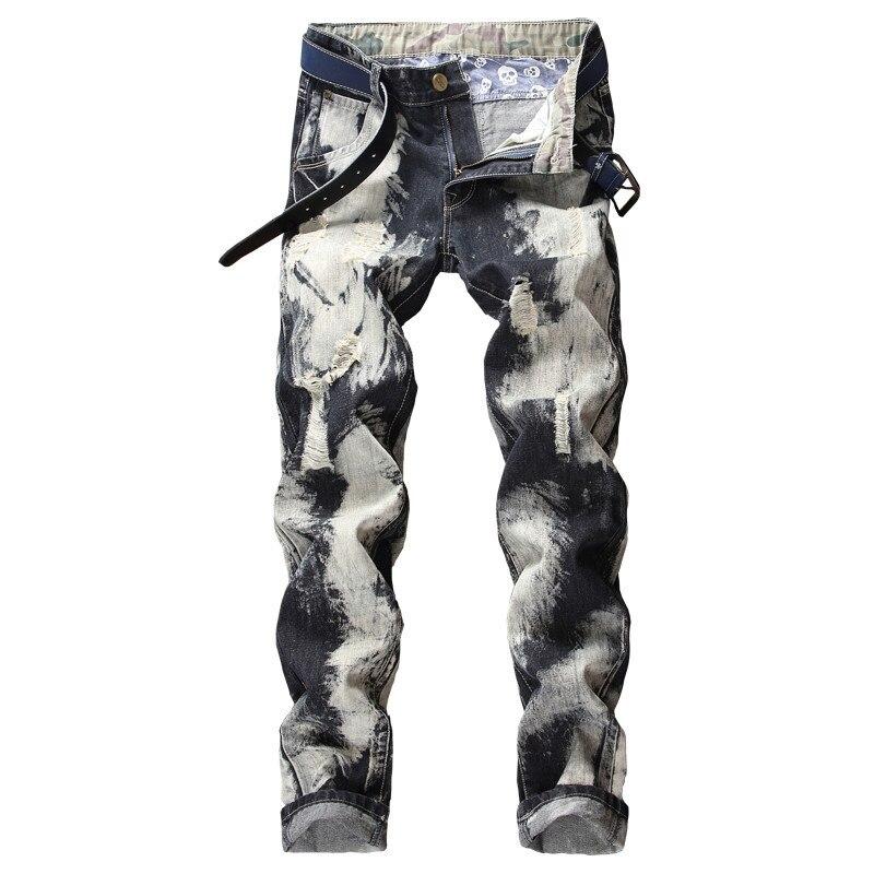 Jeans Déchiré Trou Mens De Marque Pantalon Cassé Dye X1098 As Mode Long Pic Tie Homme Aboorun qwIFxt8t