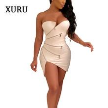 XURU Women Off Shoulder Sexy Dress White Black Blue Sleeveless Zipper Mini Dresses Party Club Asymmetrical Short