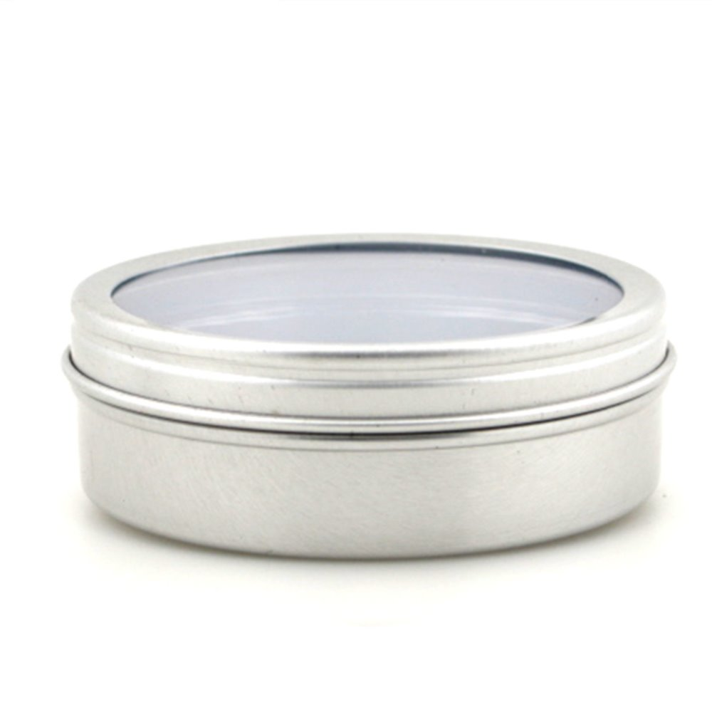 80ml Empty  Round Aluminium, Metal,Container,case,jar, Pot, Balm Tins With Clear View Window Lid