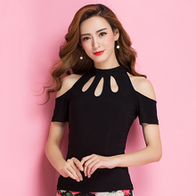 Upperwears yc1218 Top de baile latino negro moderno para mujer/niña, ropa de rendimiento de manga corta a la moda
