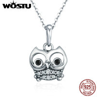 WOSTU Authentic 100 925 Sterling Silver Animal Cute Owl Necklace Women Pendant Necklace Sterling Silver Jewelry