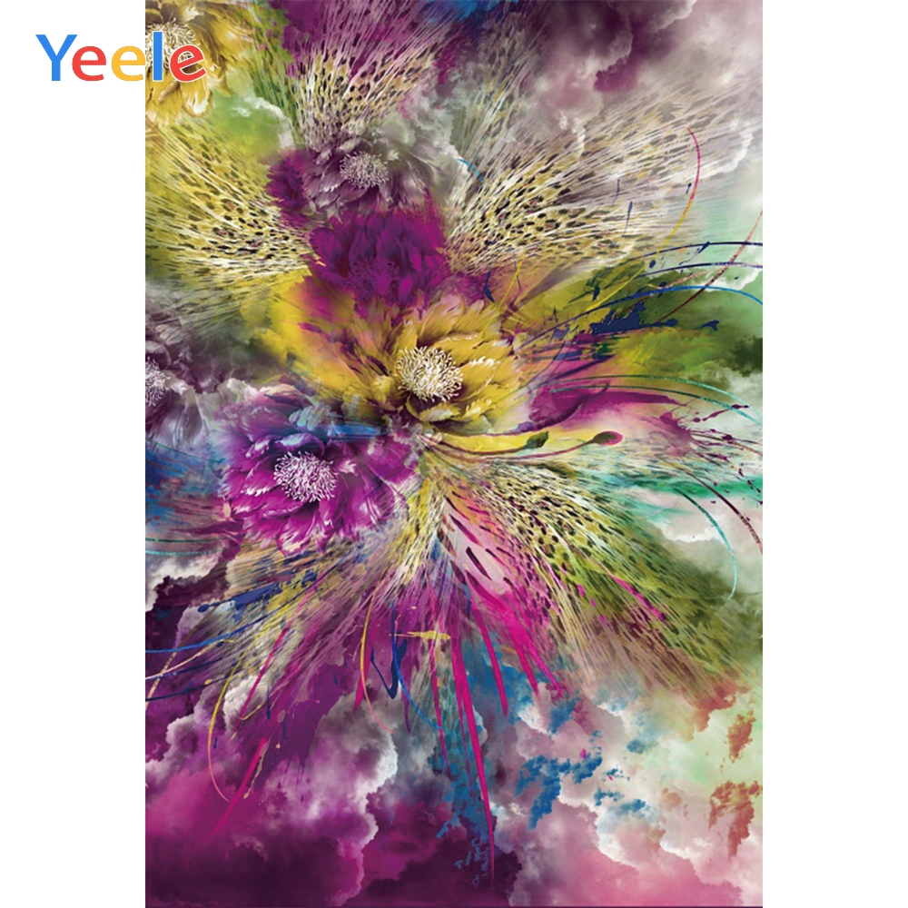 Yeele Wonderful Feather Flower Cloudy Sky Abstract Photography Backgrounds Personalized Photographic Backdrops For Photo Studio