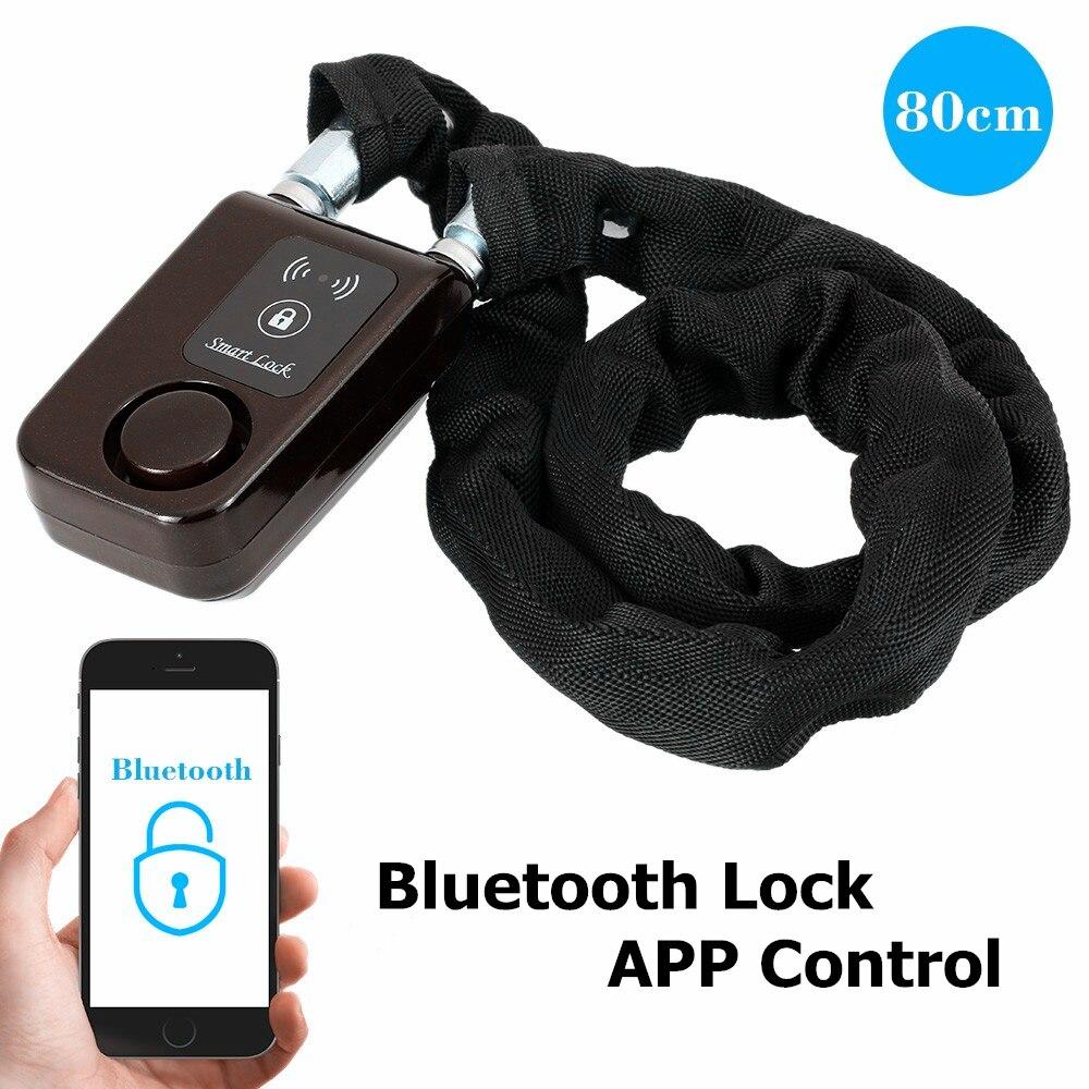 Vélo Intelligent Alarme Bluetooth Serrures Téléphone APP Contrôle Anti Vol 105dB Alarme De Verrouillage par Chaîne pour Vélo Moto