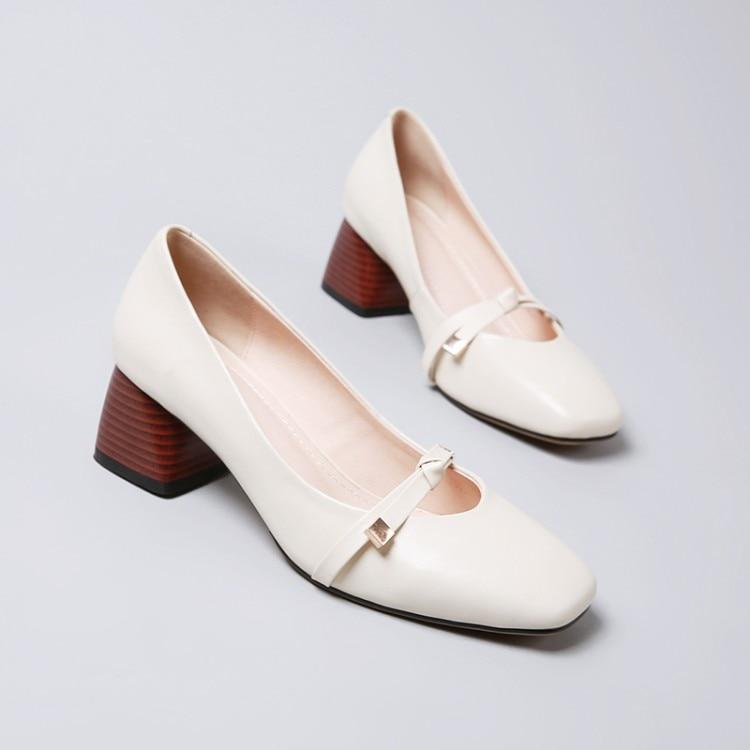 Alto Pie marrón Bombas {zorssar} Boda De Verano Mujeres Vestir Beige Las Mujer 2018 Genuino Zapatos Zapatos Dedo Cuero Cuadrado Del Tacón xOpRw8qxn