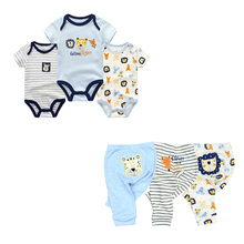 6 PCS/lot newborn short sleeve baby romper set Cotton baby j