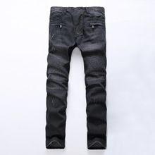 2018 Jeans Mens Light-colored Fold Slim Straight Zipper Trim Motorcycle Pants Top Quality Men Long Full Trousers Clothing