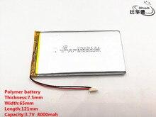 2 teile/los Gute Qulity 3,7 V, 8000 mAH, 7565121 Polymer lithium ion/Li Ion batterie für SPIELZEUG, POWER BANK, GPS, mp3, mp4