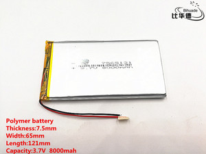 Image 1 - 2pcs/lot Good Qulity 3.7V,8000mAH,7565121 Polymer lithium ion / Li ion battery for TOY,POWER BANK,GPS,mp3,mp4