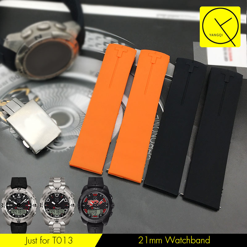 20mm 21mm Silicone Rubber WatchBand Strap Bracelet for Tissot TOUCH COLLECTION T013 T047 T33 Watch Waterproof Watchband T013.420 uyoung watchband for casio prg 130y prw 1500yj watch bands black silicone rubber strap climbing bracelet