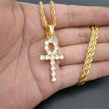 Iced Zircon Ankh Cross Pendant Gold Silver Stainless Steel CZ Egyptian Key of Life Necklace Men Women Hip Hop Jewelry