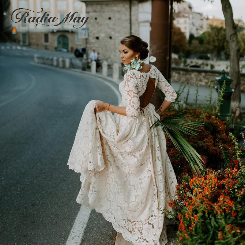 Vintage Beige Lace 3/4 Long Sleeves Boho Wedding Dress 2019 Elegant A-line Backless Summer Beach Bridal Gowns Country Casamento
