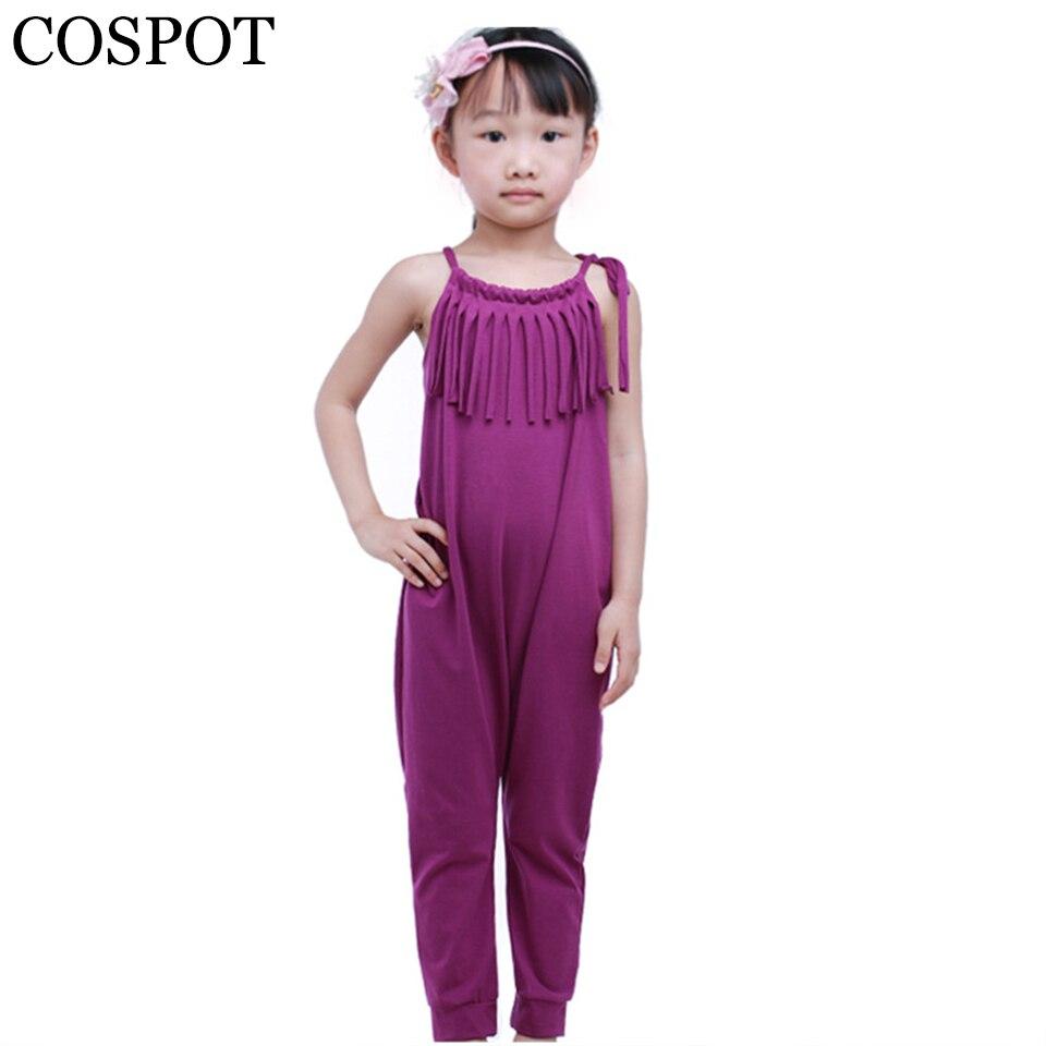 COSPOT Baby Girls Tassel Rompers Girl Summer Harem Jumpsuit Girls Cotton Plain Purple Tank Romper Girls Fashion Jumper 2018 28F