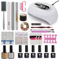 MDSKL Nail Kit Dryer 36W UV LED Lamp&UV Gel Varnish Polish Top Base Coat Manicure Tool choose 6 Colors Nail Polish For Nail sets