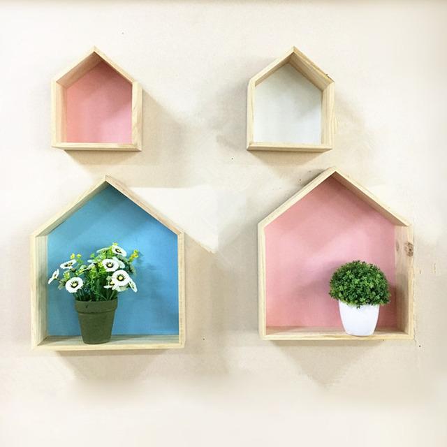 2 Pcs House Shape Wooden Shelf