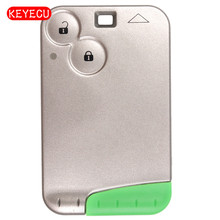 Keyecu Smart Card 2 Button Remote Key Case Keycard With Insert Blade for Laguna Espace