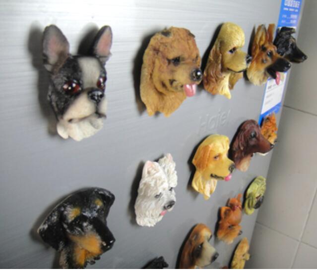 Célèbre chien réfrigérateur bâton magnétique créatif en trois dimensions chiot tête modèle absorbant pierre tableau noir décoration artisanat