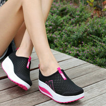Fashion Women Height Increasing shoes Summer Breathable mesh