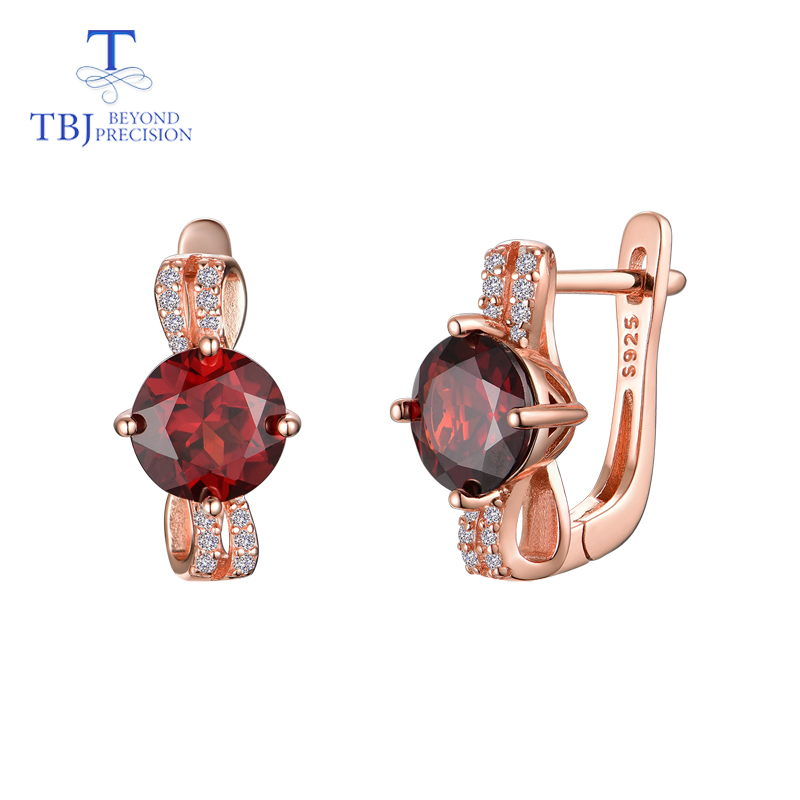 TBJ elegant clasp earring with natural mozambique red garnet round 7mm 925 sterling silver fine jewelry