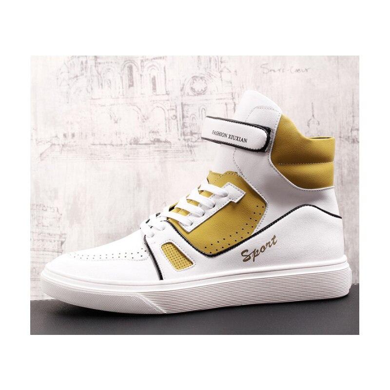 Hombres Amarillo Los Pisos Costura amarillo Blanco Negro Calle Zapatos Hop  Casuales Mocasines Zapatillas Top Hip Alta Para Moda Deporte Skate 2019 ... 96c18d2daac