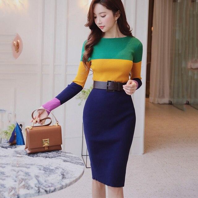 original 2018 brand vestido autumn winter new lady elegant slim hip striped pencil knitted sweater dress women wholesale